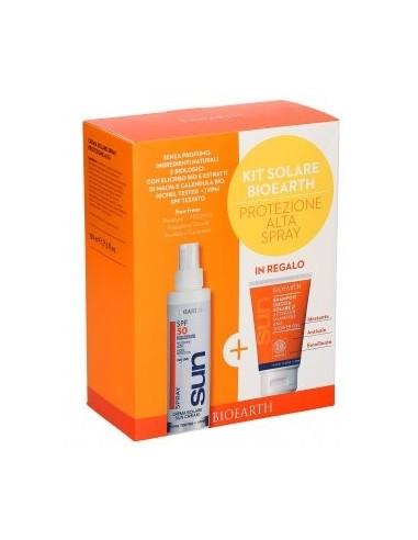 Kit Solare Spray Protezione Alta SPF50 150ml + Doccia Shampoo Solare 50ml - Bioearth - Wingsbeat